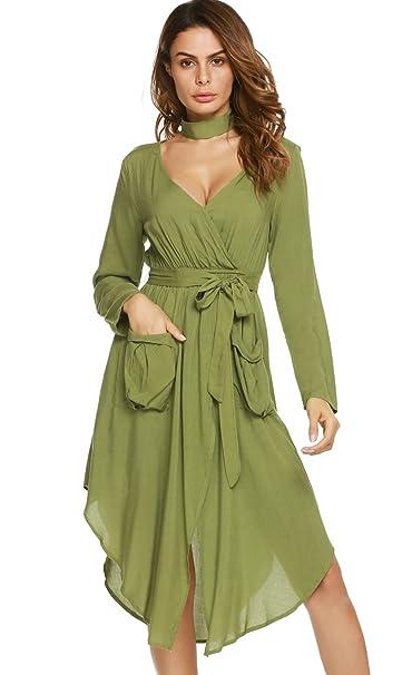 7c83053e856 Zeagoo Women s V-Neck Long Sleeve Hi Low Dress A Line Midi Dress With  Pockets
