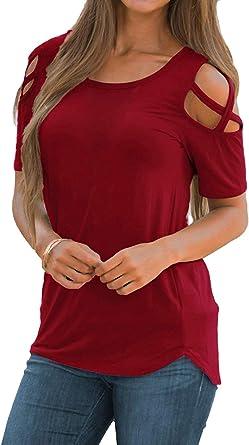 Camisetas de Manga Corta para Mujer Hombro Frío Blusas con Cuello Redondo sin Hombro Tops Camisa Elegante Casual Color Liso T-Shirt: Amazon.es: Ropa y accesorios