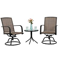Deals on 3-Pc Phi Villa Swivel Chair Patio Bistro Set 2 Chairs, 1 Table