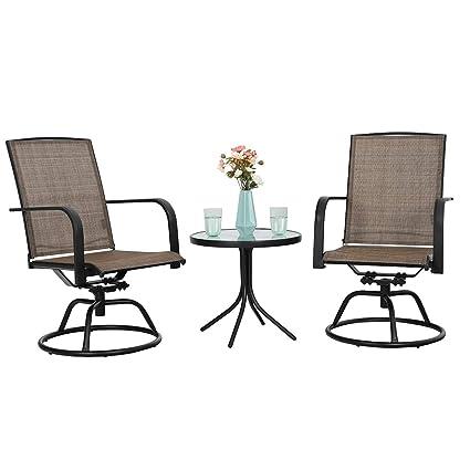 Amazon Com Phi Villa 3 Pc Swivel Chair Set Patio Bistro Set With 2