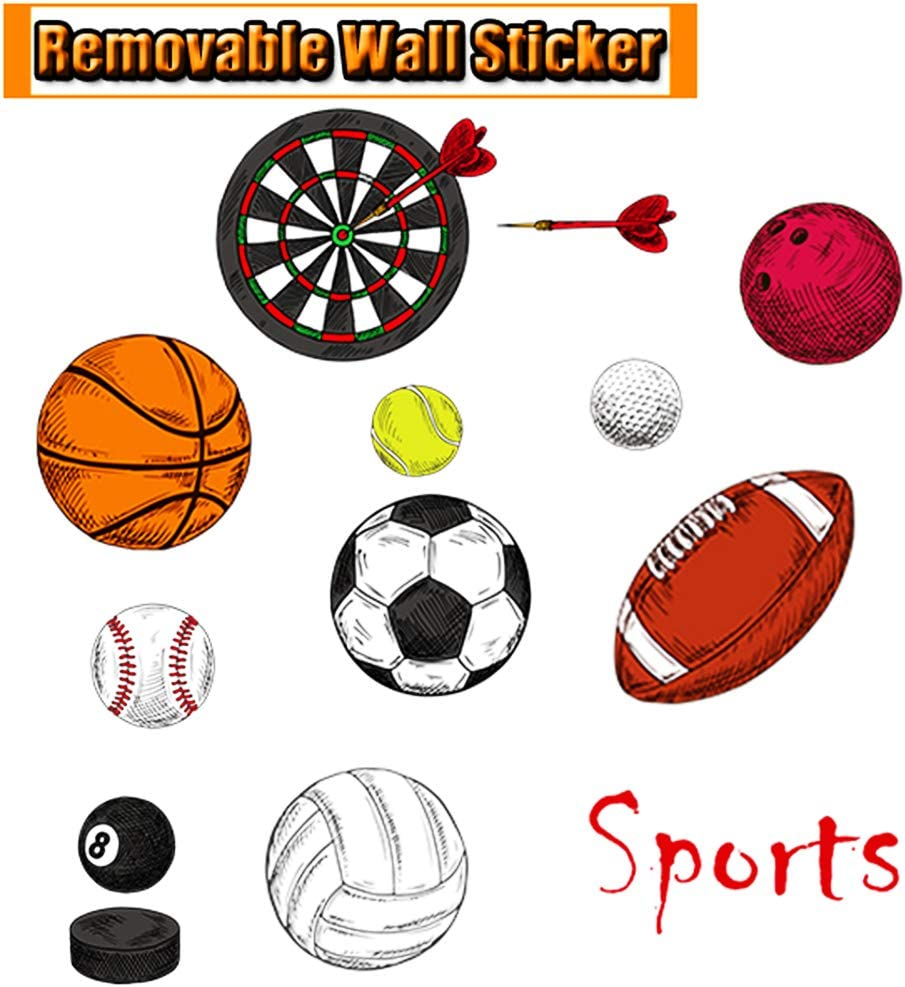 Football Soccer Wall Stickers Baseball Tennis Darts Golf Wall Decal Decor Windows Bedroom Removable Decals DIY Vinyl Decal Removable Decor Art Kids Nursery Room Peel Stick (Sport)