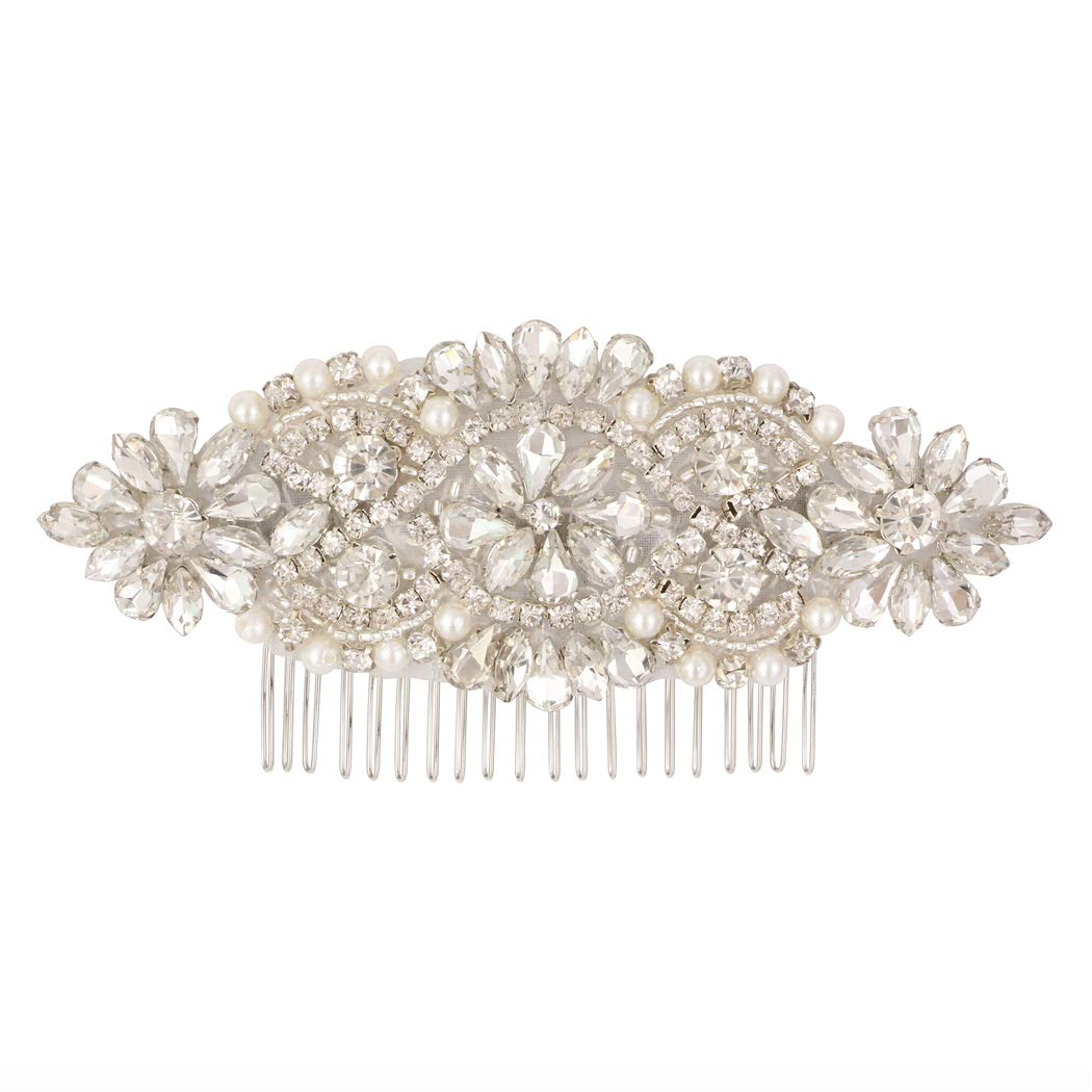 LovShe Wedding Hair Comb Bridal Hair Accessories Crystal Rhinestone Hair Comb with for Bride Bridesmaid(Silver) by LovShe