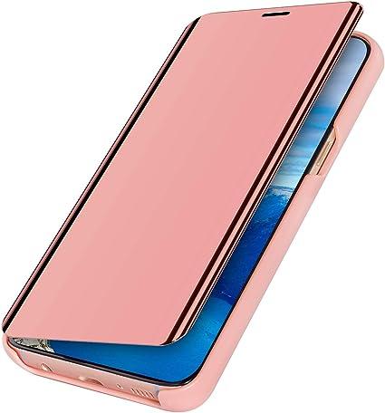 MoreChioce compatible avec Coque Samsung Galaxy A20S,Coque Miroir compatible avec Galaxy A20S,Bling Glitter Strass Chrom Rose D'or Housse à Rabat ...