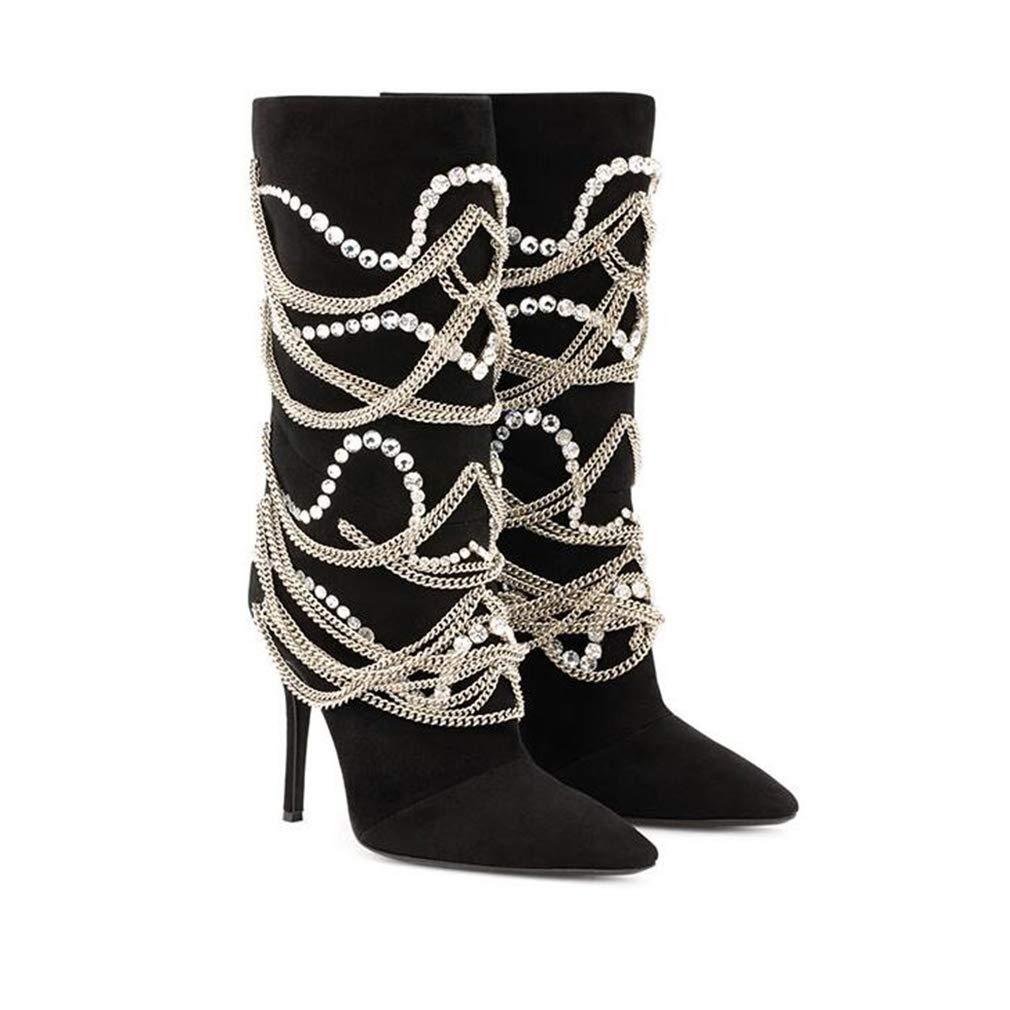 Hy Damenschuhe, Herbst Winter Wildleder wies Pfennigabsatz Stiefeletten, Mode Mode Mode Stiefel, Damen Flut Flow Persönlichkeit Ankle Stiefel, seitlicher Reißverschluss große Größe Martins Schuhe a187f9