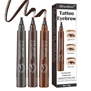 Eyebrow Tattoo Pen, Microblading Eyebrow Pen, Tattoo Eyebrow With Precision Applicator Long Lasting, Waterproof, Smudge Proof For Fuller Natural Looking Brows - 3 Pcs