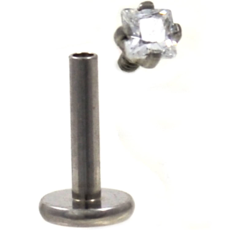 """Lip//Monroe Stud Gemmed Cross 5mm Internal Thread 16 Gauge 5//16/"""" Steel Body Je"""