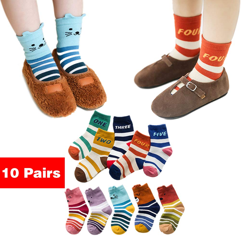 10 Pairs Unisex Baby Socks Cute Cotton Cozy Ankle Socks for Baby Infant Toddler Kids 8-36 Months