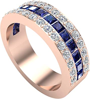 Mens Wedding Rings Blue Sapphire Gemstones Rings 14k Gold Diamond Ring 2 97 Carat Tw Amazon Com