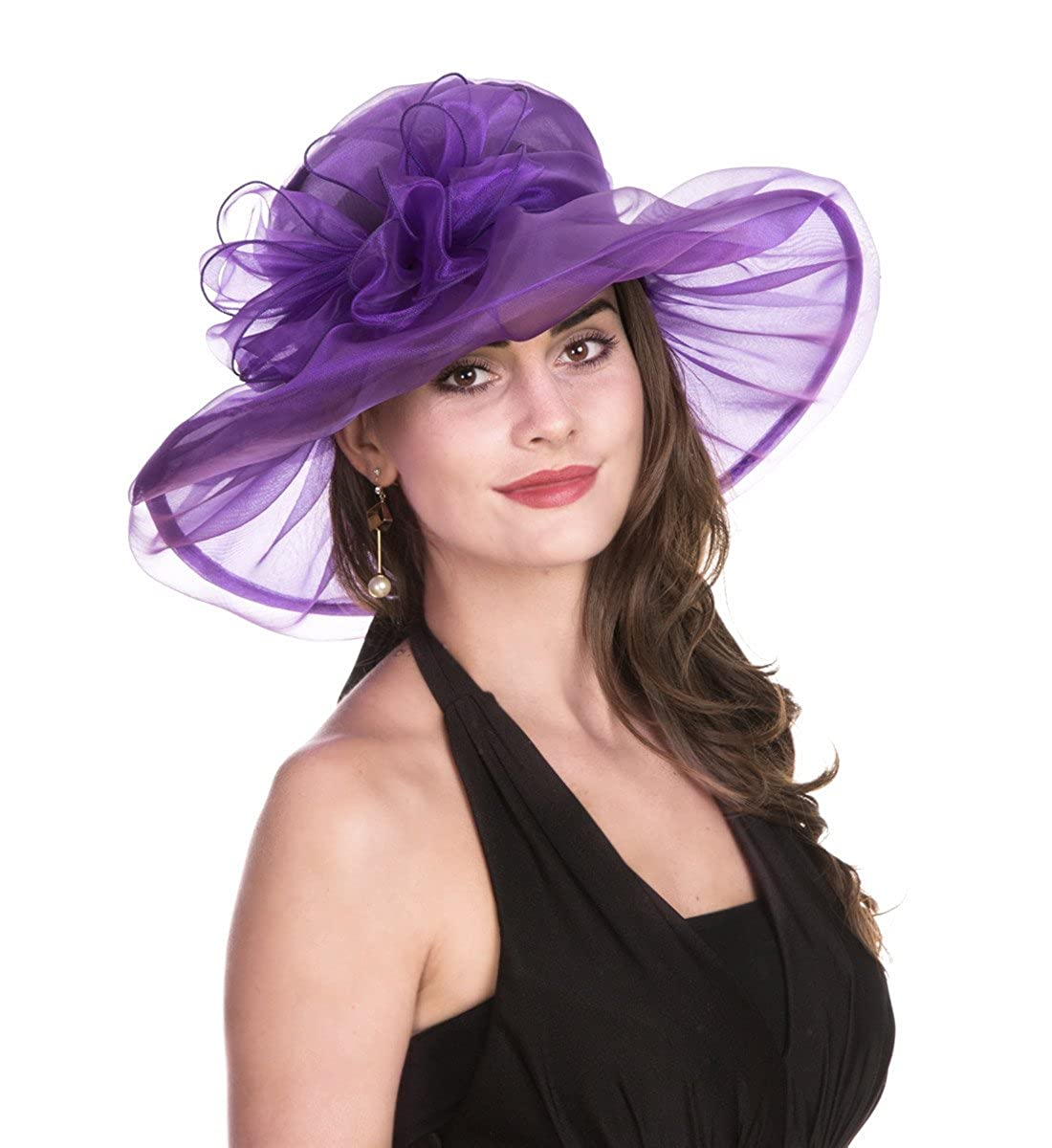 ddbcea02578c SAFERIN Women's Organza Church Kentucky Derby Fascinator Bridal Tea Party  Wedding Hat (1-Purple Bowknot) at Amazon Women's Clothing store: