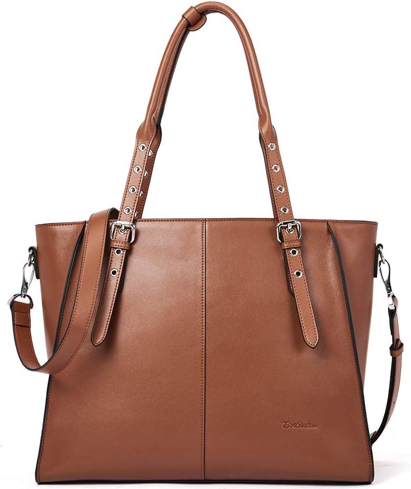 BOSTANTEN Leather Briefcase for Women 15.6 inch Laptop Tote Bag Shoulder Handbag Crossbody Work Purse Brown