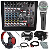 Allen & Heath ZEDi-10FX Hybrid Compact Mixer & 4x4 USB Interface with FX + Platinum Bundle w/ Dynamic Microphone, Mis Stand, Closed-Back Headphones, Cables, Fibertique Cloth