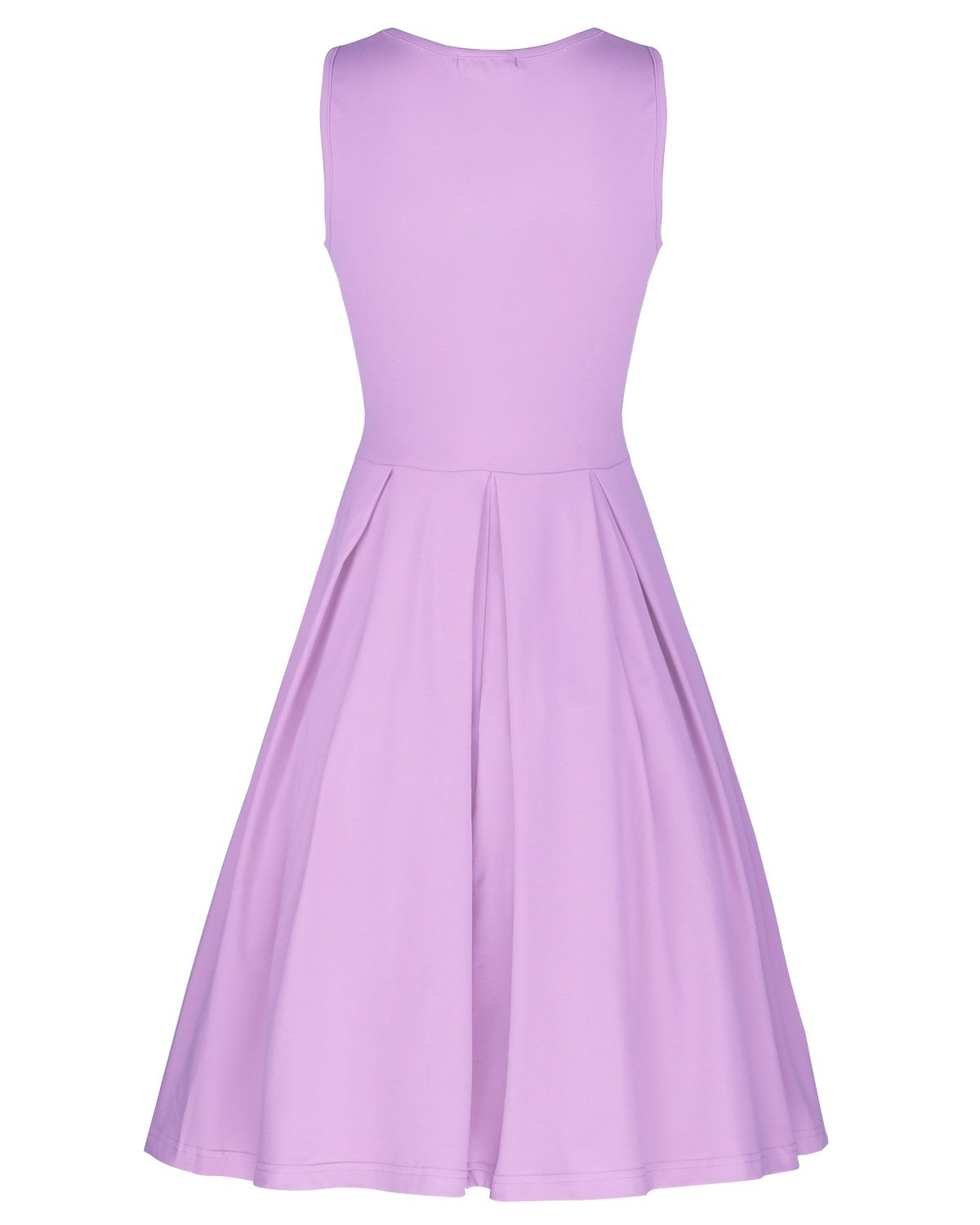 STYLEWORD Women's Sleeveless Casual Cotton Flare Dress(Lavender,L) by STYLEWORD (Image #3)