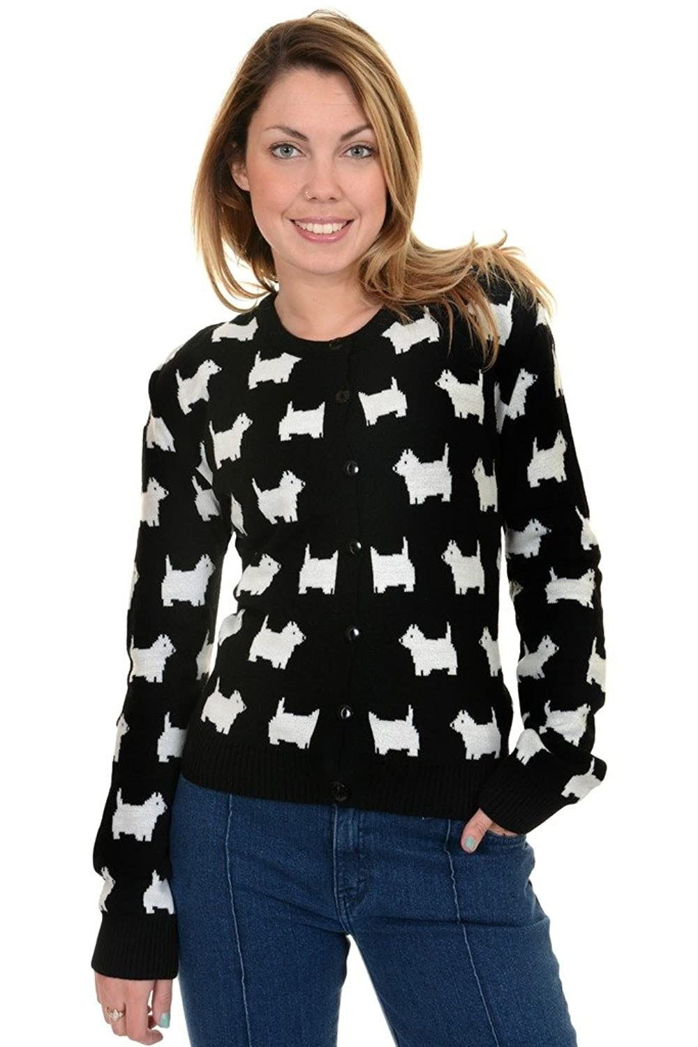 1950s Style Sweaters, Crop Cardigans, Twin Sets  50s 60s Retro New Vintage Scottie Dog Cardigan $34.95 AT vintagedancer.com