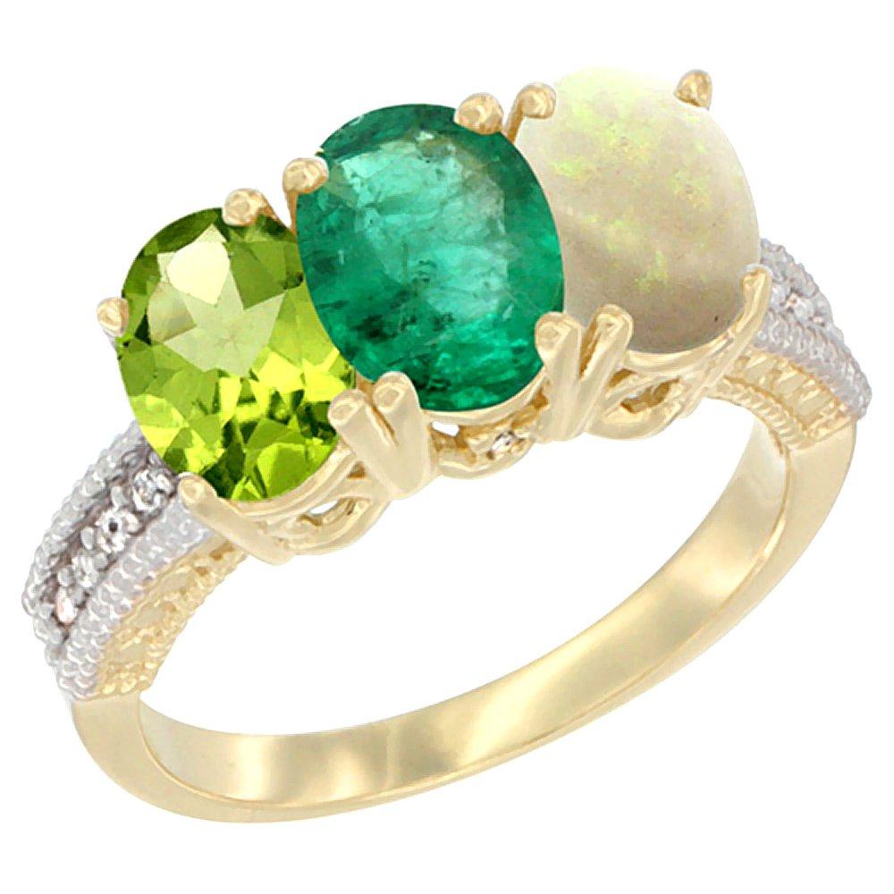 14K Yellow Gold Natural Peridot, Emerald & Opal Ring 3-Stone Oval 7x5 mm, size 7
