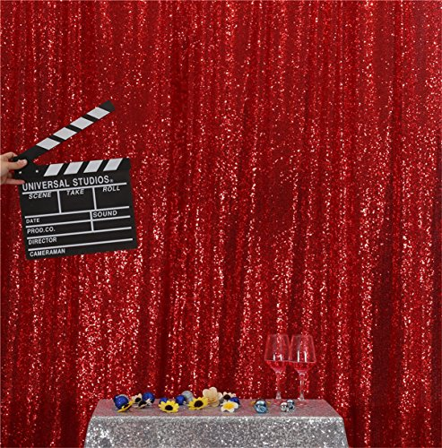 Eternal Beauty Red Sequin Wedding Backdrop Photography Background Party Curtain, 5Ft X 7Ft