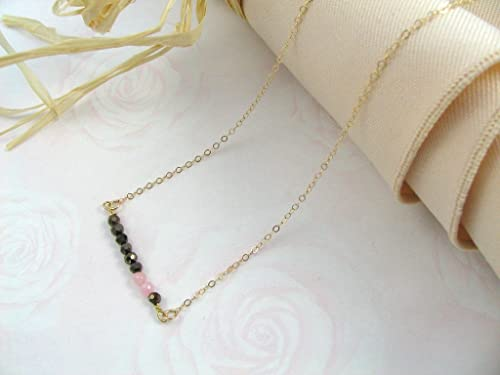 Dainty Necklace Minimal Jewelry Gemstone Bar Necklace 14k Gold Filled