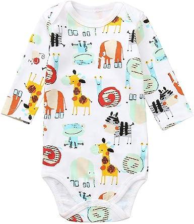FELZ Bebé Mono Mameluco Niños Niñas Pelele Bebé Pijamas Algodón Una Pieza Mameluco Mono Manga Larga Bodies de la Letra Animal 3 a 24 Meses: Amazon.es: Ropa y accesorios