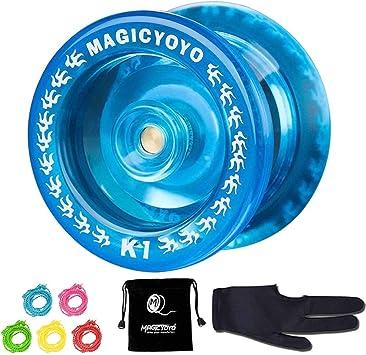 5 Yoyo Strings Glove Responsive Yoyo K1-Plus Bag Crystal Red Narrow C Bearing Spin Yoyo for Kids Beginner MAGICYOYO Plastic Yoyo