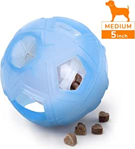 "LumoLeaf Dog Toys Treat Ball, 5"" Interactive IQ Treat Dispensing Ball with Adjustable Difficulty Setting for Small to Medium Dogs and Cats"