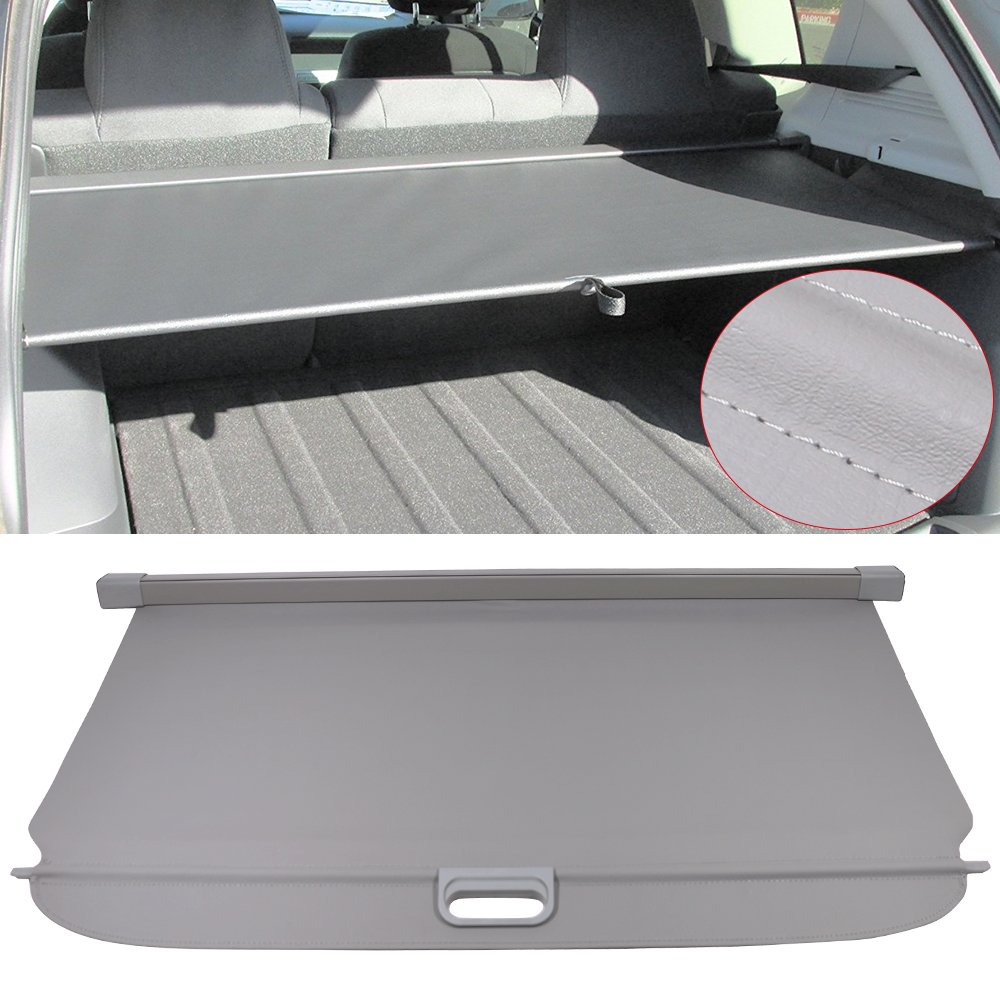 Cargo Cover Fits 2007-2017 Jeep Compass & Patriot   Grey PU Tonneau Cover Retractable By IKON MOTORSPORTS   2008 2009 2010 2011 2012 2013 2014 2015 2016