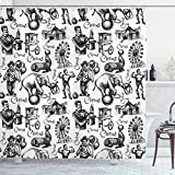 Ambesonne Modern Shower Curtain, Circus Words and Themed Continous Pattern with Magician Baloons Phrase Artwork, Cloth Fabric Bathroom Decor Set with Hooks, 70' Long, Black and White