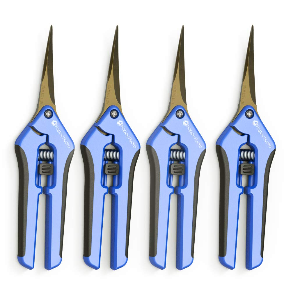 Happy Hydro - Trimming Scissors - Curved Tip - Titanium Coated Blades with Spring-Loaded Comfort Grip Handles - 4 Pack by Happy Hydro