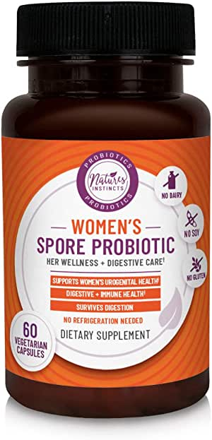 Nature's Instincts Women's Spore Probiotic with Live Strains Vegetarian Capsules, 60 Count