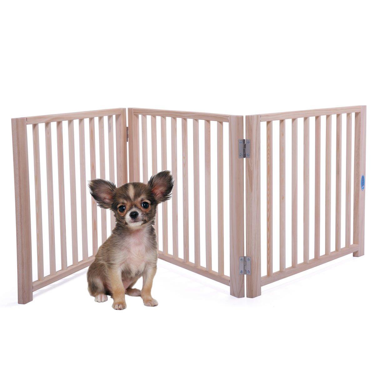 Folding Solid Wooden Pet Dog Fence Playpen Gate 3 Panel Free Standing Indoor