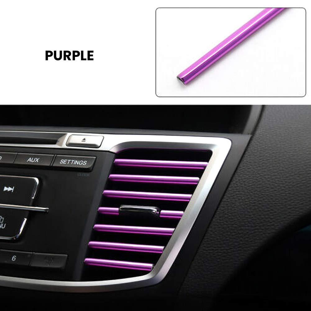 decorativos de salida de aire del coche de 10 piezas cambiados interior en forma de U Ggaggaa Clips de tira revestimiento de tira brillante