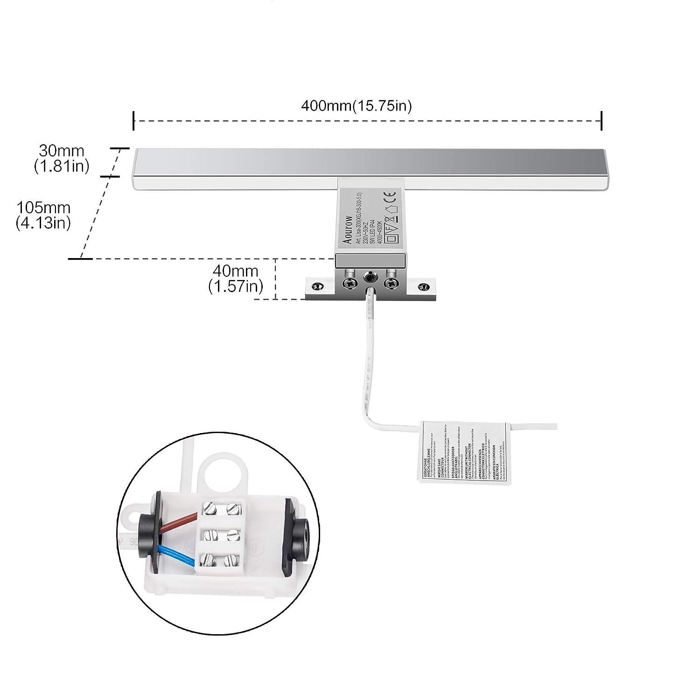 LED Spiegelleuchte Badezimmer 10W 820LM 40cm Neutralwei/ß 4000K Azhien,3in1 Montage IP44 230V Edelstahl Wandleuchte Spiegellampe 400mm,Kein Flimmern Badezimmerschrank Spiegelleuchten
