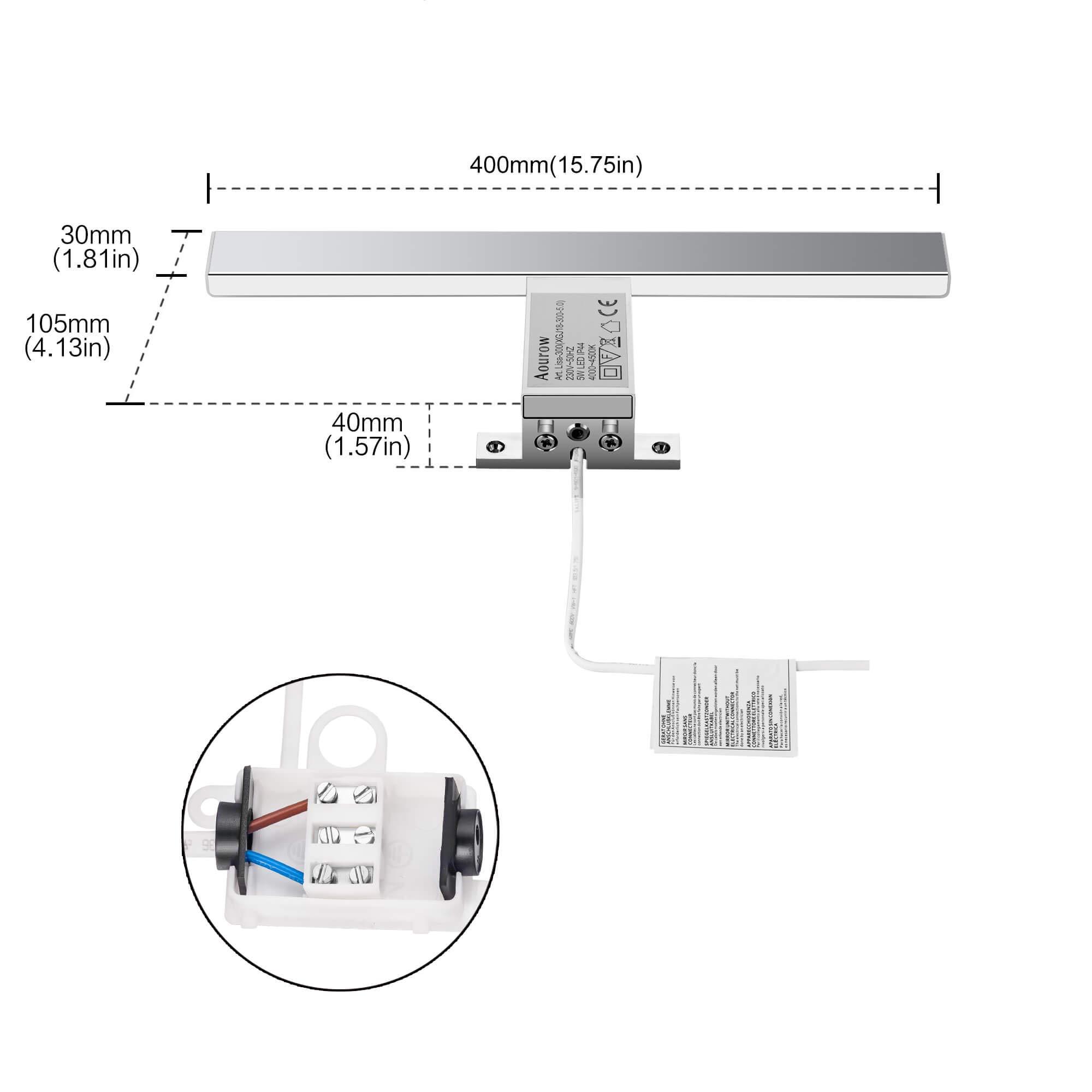 LED Spiegelleuchte Badezimmer 10W 820LM 40cm Neutralweiß 4000K Azhien,3in1 Montage IP44 230V Edelstahl Wandleuchte Spiegellampe 400mm,Kein Flimmern Badezimmerschrank Spiegelleuchten