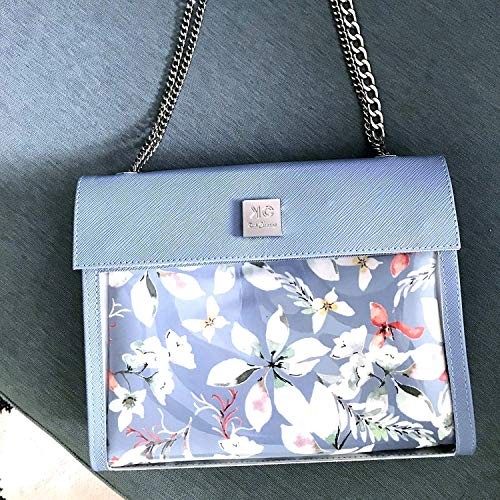 (Designer Light Blue Floral Shoulder Bag for Women, Unique Small Vegan Handbag, 2 in 1 Women's Trendy Everyday Purse)