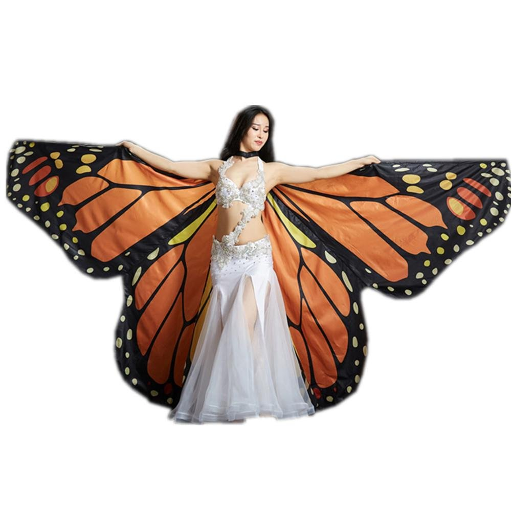Orange papillon adults Byjia Rainbow papillon Big Belly Dance Angel Isis Wings 360 Degrés Flexible Non BÂtons Complet Costume Exotique Enfants Adultes Spectacles Professionnels