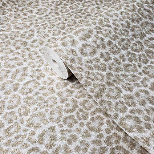 Made in Italy Portofino Textured Italian wallcoverings Modern Embossed Vinyl Wallpaper White Yellow Gold Metallic Leopard Cheetah Jaguar Animal Print Faux Skin Fur Textures (Roll - 75 sq. ft)