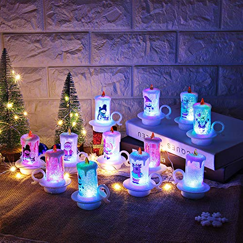 Livoty 12 pcs Christmas Candle with LED Tea Light Candles for Christmas Props Decoration Part (12 pcs)