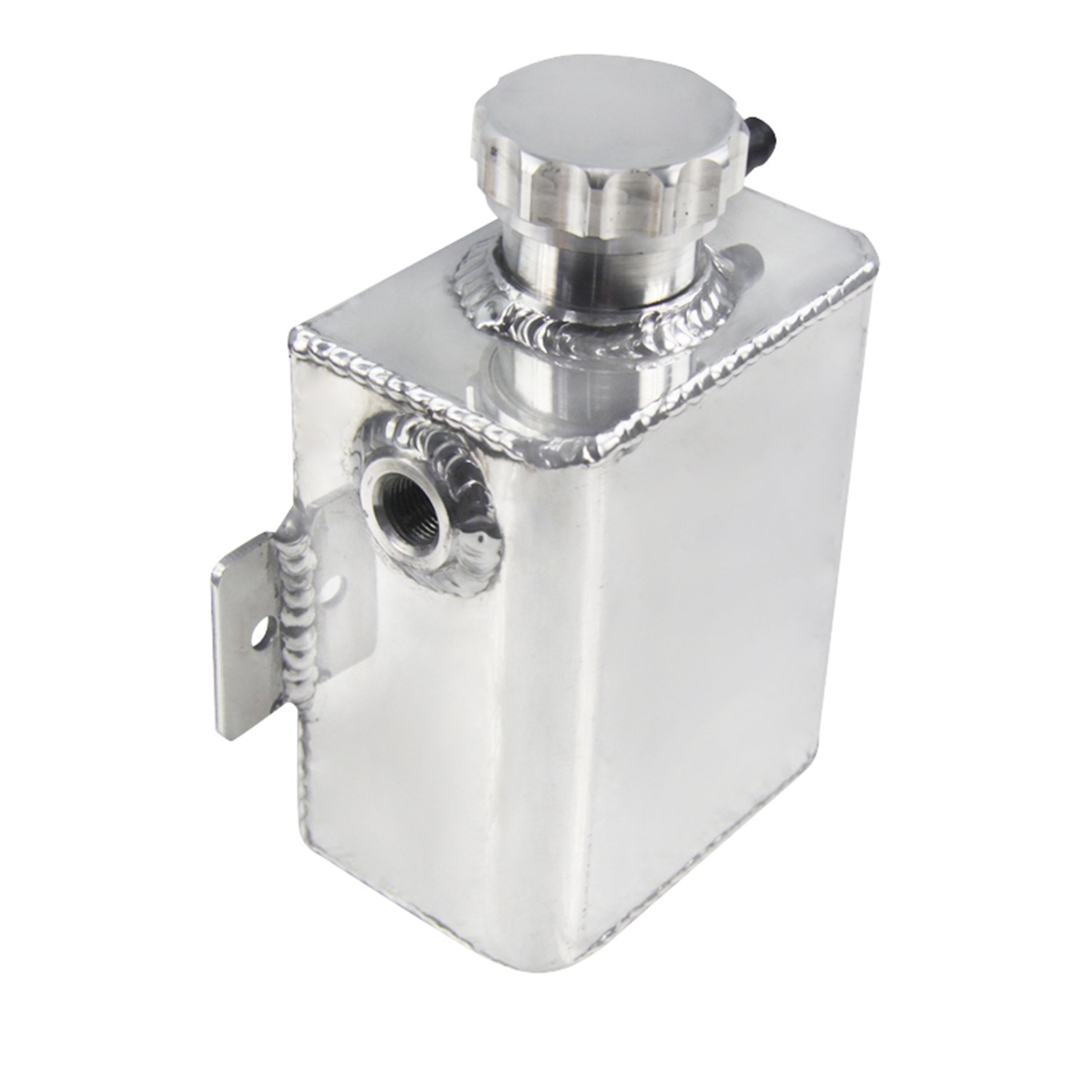 ALLOYWORKS Aluminum Radiator Overflow Bottle Expansion Catch Can Tank + Billet Cap 1.25L Silver