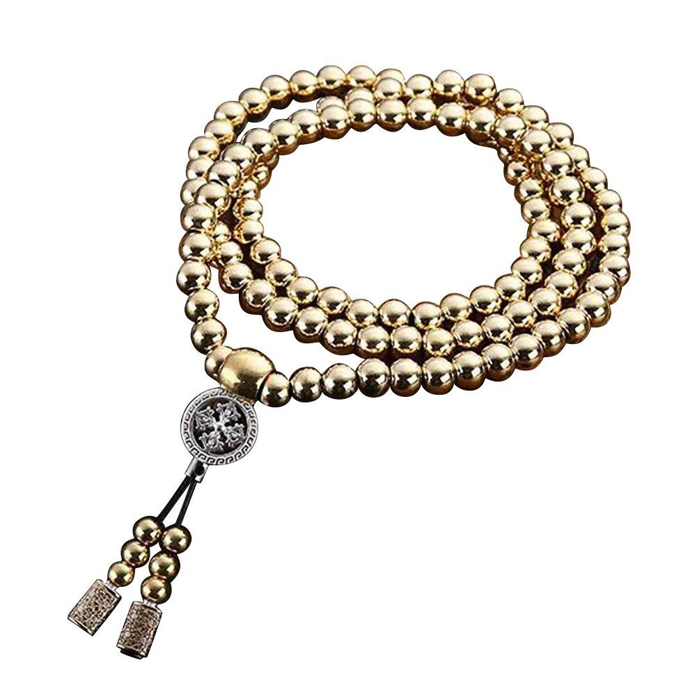 Outdoor Stainless Steel 108 Buddha Beads Necklace Hand Bracelet Chain Titanium Steel Metal Necklace Waist Chain