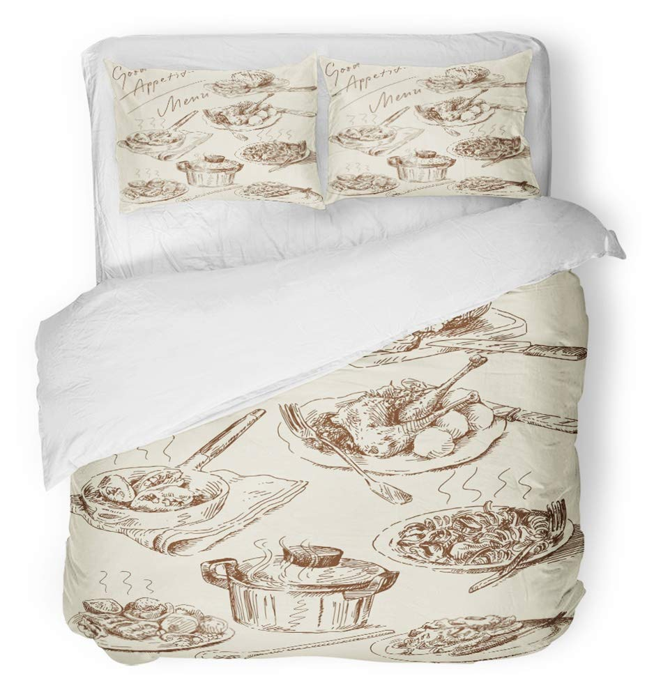 Emvency 3 Piece Duvet Cover Set Breathable Brushed Microfiber Fabric Food Original Hand Drawn Pasta Italian Restaurant Meat Meal Retro Chicken Bedding Set with 2 Pillow Covers King Size