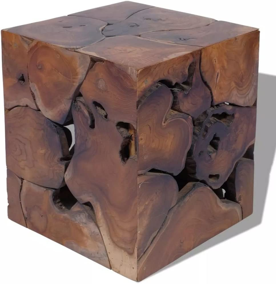 Unfade Memory Unique Stool Solid Teak Fully Handmade Type 1, Brown