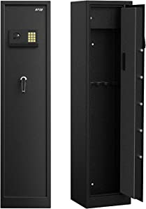 RPNB Rifle Safe,Electronic Gun Security Cabinet,Quick Access 5-Gun Large Metal Rifle Gun Security Cabinet with Separate Pistol/Ammo Area