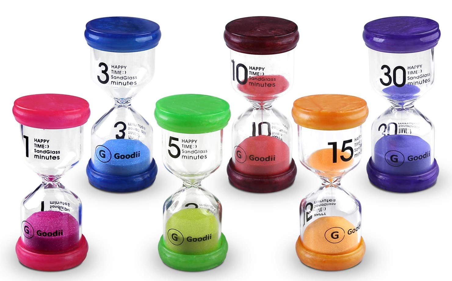 Goodii time timer, 6 Colors Sand Timers for kids, Hourglass Timer  1/3/5/10/15/30 minutes, Visual Timer for Kids, Hour glass for Classroom  Home Office