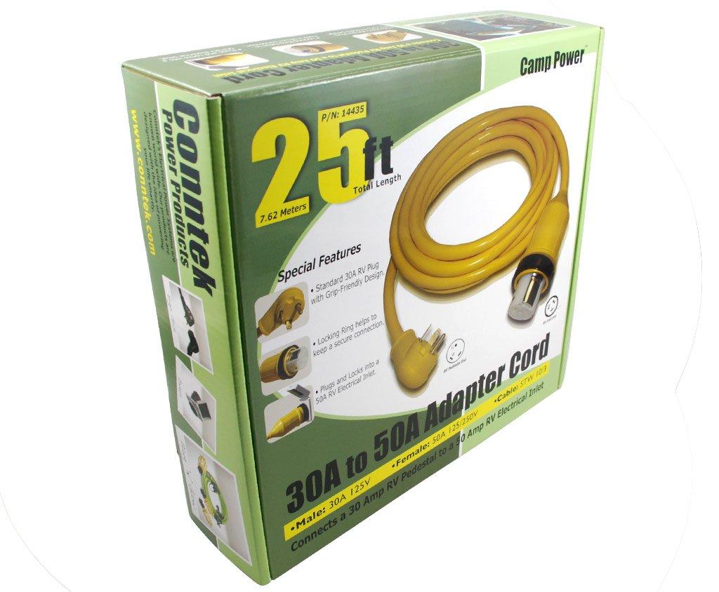 Conntek 14436 Rv Power Cord 30 Amp To 50 Locking Converter Adapter Wiring Diagram 35 Feet Automotive
