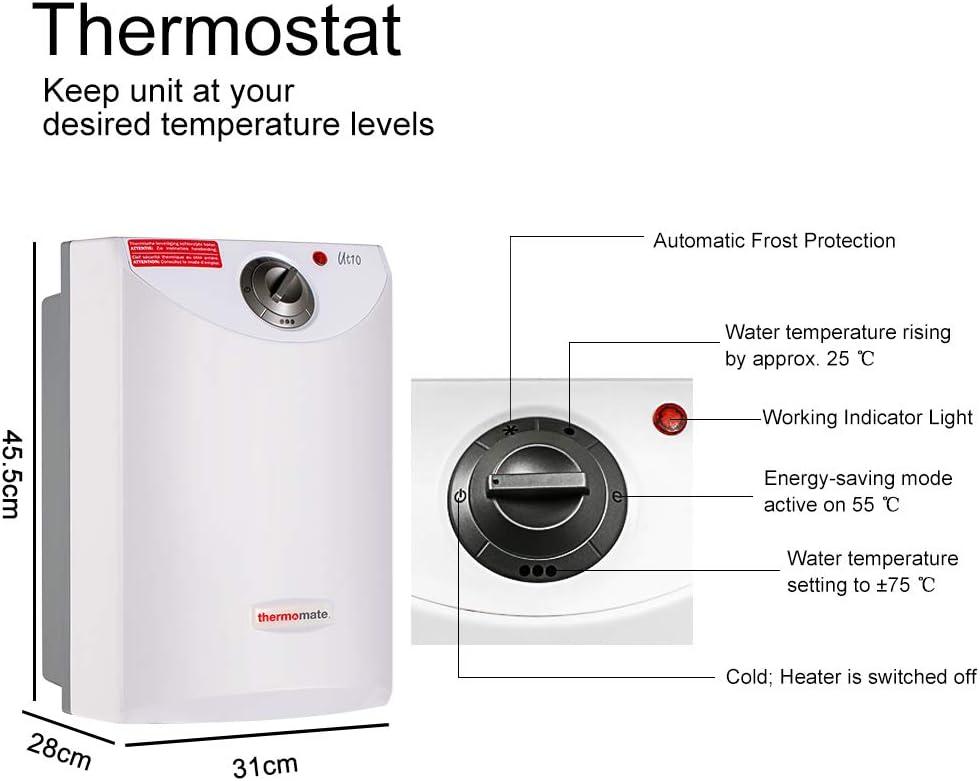 para Cocina y Ba/ño Con Capacidad De 10 Litros Termostato Temperatura 7-75/º Blanco Thermomate UT10 Termo Electrico 2000W