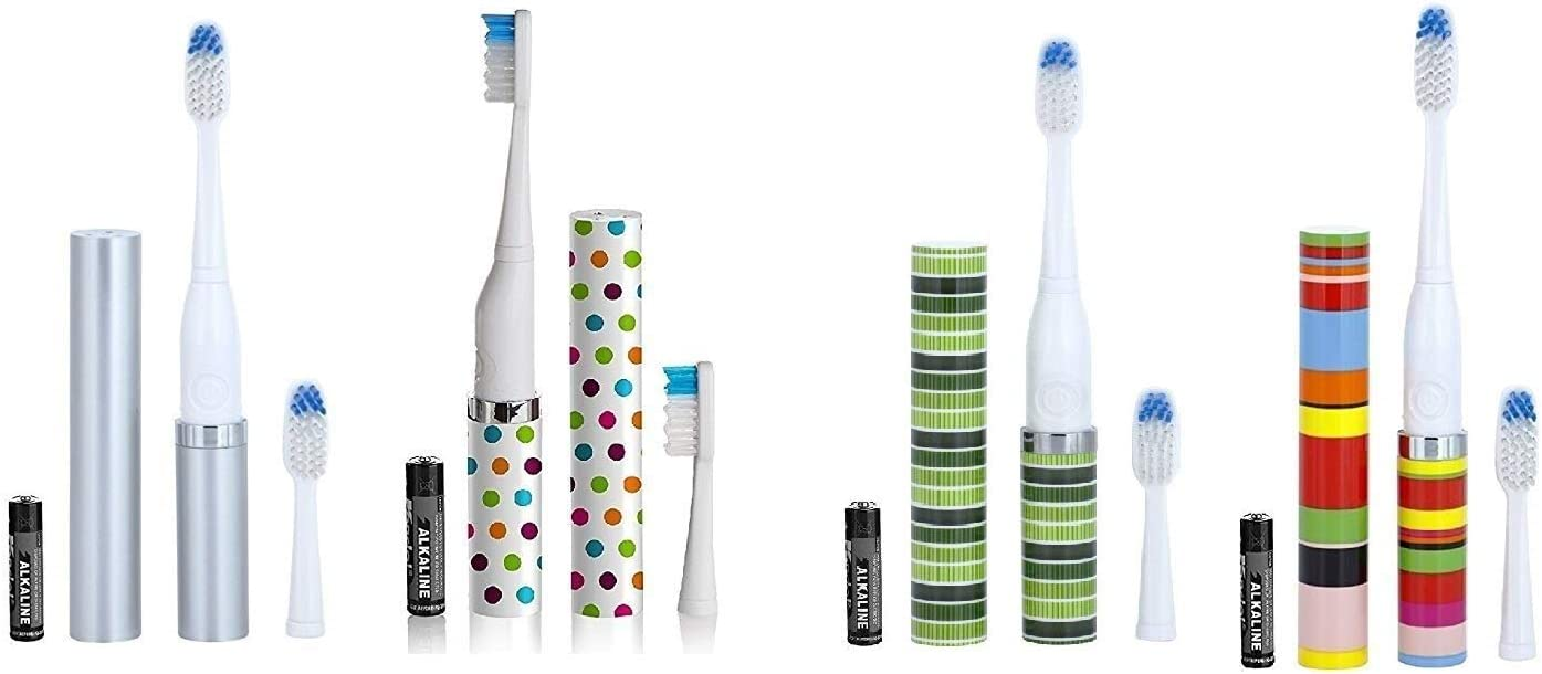 Violife Slim Portable Sonic Toothbrush Set, Designs As Pictured, 4 count, Silver, Confetti, Ocean, Candy Stripe