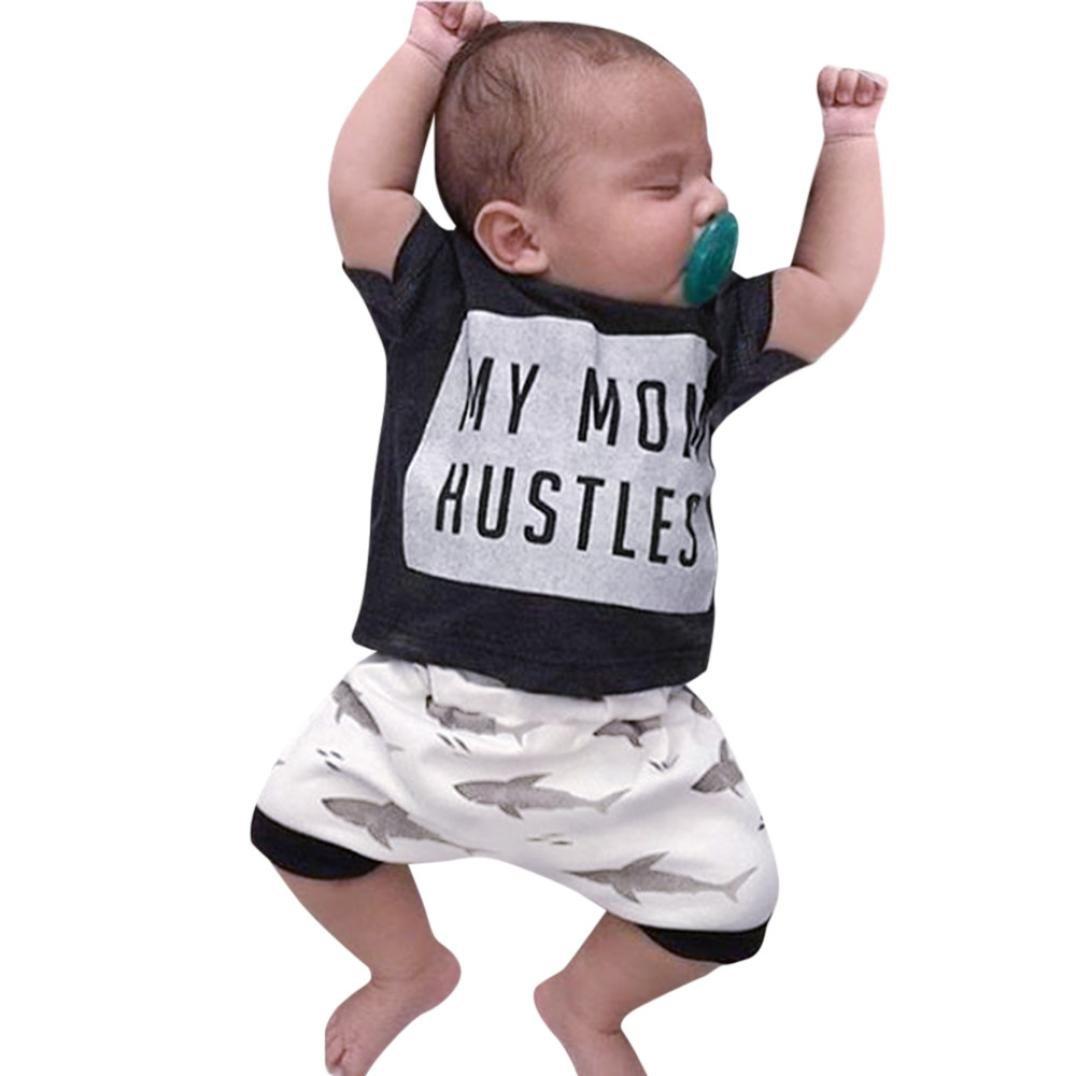 DIGOOD for 0-18 Months, Toddler Baby Boys Girls T-Shirt Tops+Cartoon Shark Print Pants, 2Pcs Outfits Clothes Sets