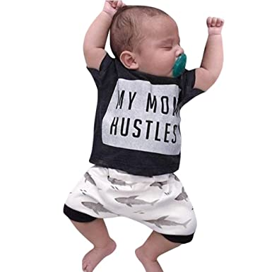 Boys' Baby Clothing Newborn Toddler Baby Boys Sleeveless Shark Hoodie Tops Pants 2pcs Set Clothes New Fashion Summer Boys Out Wear Mother & Kids