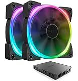 NZXT AER RGB 2 - 140mm - Twin Pack - Advanced Lighting Customizations - Winglet Tips - Fluid Dynamic Bearing - LED RGB PWM Fan for Hue 2 + Hue 2 Lighting Controller