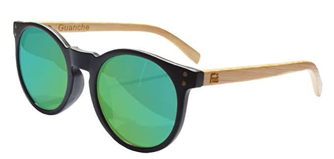 Gafas De Sol Fans Con Bambú, Polarizadas, Guanche, Unisex, Black Ice Blue