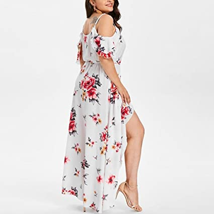 Women Dress Daoroka Ladies Sexy V-Neck Plus Size Casual Loose Floral Boho Maxi Evening Party Prom Gown Skater Skirt (2XL, White)