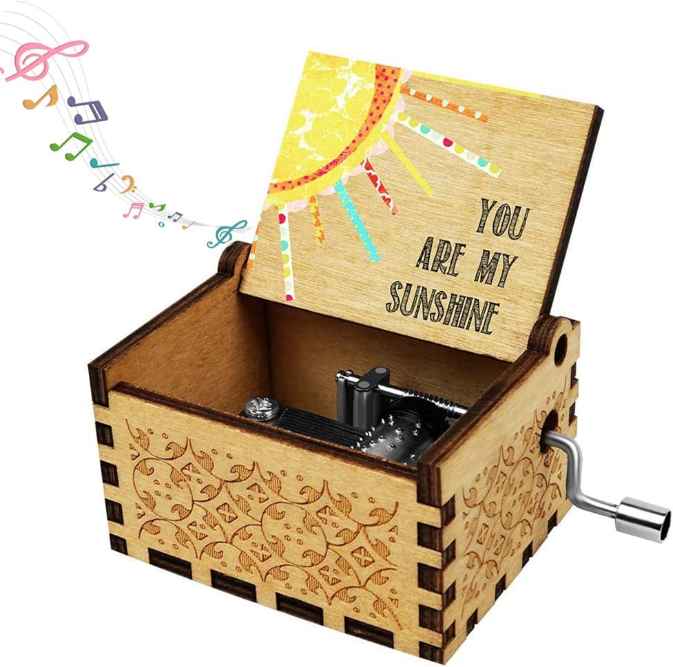Amazon Com Music Box Wife Girlfriend Gift You Are My Sunshine Gifts For Daughter Son Boyfriend Husband Wooden Musical Box Hand Cranked Valentine Christmas Anniversary Birthday Present Home Kitchen
